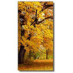 Zegar szklany pionowy natura drzewo jesień las złoto marki Tulup.pl