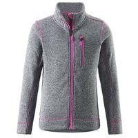 Reima Bluza polarowa  knit fleece lichen szara z różowymi elementami
