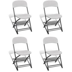 vidaXL Krzesła składane kempingowe, białe, 4 w zestawie, wykonane z HDPE, kup u jednego z partnerów