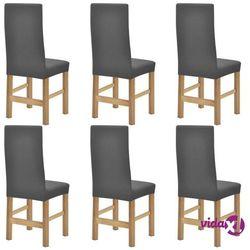 elastyczne pokrowce na krzesła, prążkowane, 6 szt., szare marki Vidaxl