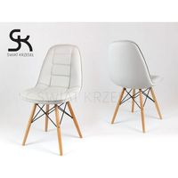 ks009 jasnoszare krzesło z ekoskóry na drewnianych nogach - jasnoszary marki Sk design