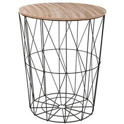 Nowoczesny stolik kawowy, funkcja przechowywania, blat w kolorze drewna, czarna podstawa, oryginalny design marki Atmosphera créateur d'intérieur