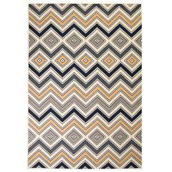 Nowoczesny dywan w zygzak, 180x280 cm, brązowo-czarno-niebieski
