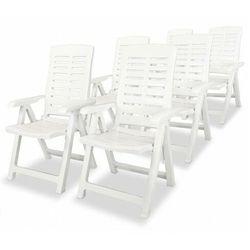 Vidaxl rozkładane krzesła ogrodowe, 6 szt., plastikowe, białe marki Elior