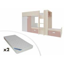 Łóżko piętrowe julien – 2 × 90 × 190 cm – szafa – kolor biały i różowy + 2 materace zeus 90x190 marki Vente-unique