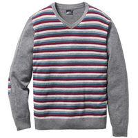 Sweter z dekoltem w serek Regular Fit bonprix antracytowy melanż w paski