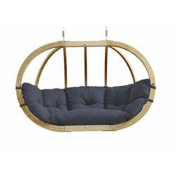 Fotel hamakowy dwuosobowy drewniany, szaro-czarny Globo Royal chair weatherproof