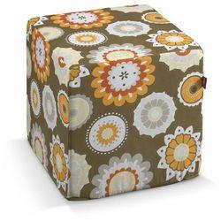 pufa kostka twarda, kolorowe kwiaty na brązowym tle, 40x40x40 cm, wyprzedaż do -30% marki Dekoria