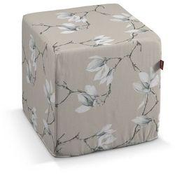 Dekoria  pufa kostka twarda, magnolie na beżowym tle, 40x40x40 cm, flowers