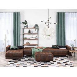Sofa modułowa rozkładana imitacja skóry Old Style brąz prawostronna ABERDEEN