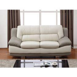Sofa 2-osobowa ze skóry thomas - model dwukolorowy: kość słoniowa i szary marki Vente-unique