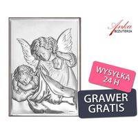 Aniołek z latarenką, świecący nad śpiącym dzieciątkiem - 18*13 obrazek srebrny. prezent dla dziecka. gr