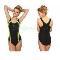POWER II klasyczny strój kąpielowy pływacki czarny/zielony gWINNER + Czepek | WYSYŁKA 24h