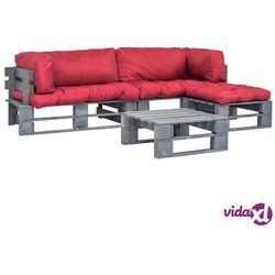 meble ogrodowe z palet, 4 szt., drewno fsc, czerwone poduszki marki Vidaxl