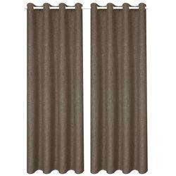Zasłony stylizowane na lniane, 2 szt., 140 x 225 cm, brązowe