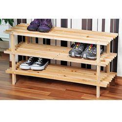 Gustowny stojak na buty z drewna sosnowego, regał na buty, szafka na buty do przedpokoju, półka na buty, drewniana półka, Kesper (4000270697234)