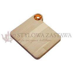 Deska do krojenia mała woody 23x21,5x2 cm zółta marki Omada