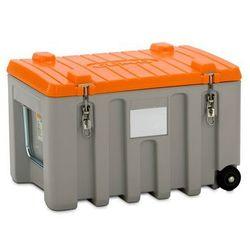 Pojemnik uniwersalny z polietylenu, poj. 150 l, wózek, szary / pomarańczowy. Opt