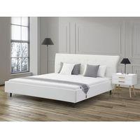 Łóżko białe - 160x200 - łóżko skórzane ze stelażem - SAVERNE