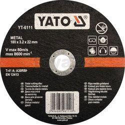 Tarcza do cięcia metalu 180x3,2x22 mm / YT-6111 / YATO - ZYSKAJ RABAT 30 ZŁ