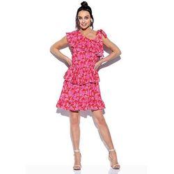 Wzorzysta sukienka wiązana na jedno ramię - druk 17, 1 rozmiar