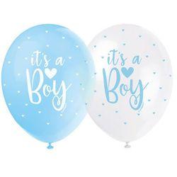 Unique Balony pastelowe na baby shower chłopca - 30 cm - 5 szt.