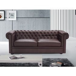 Sofa kanapa skórzana brazowa klasyka dom biuro CHESTERFIELD - produkt z kategorii- sofy