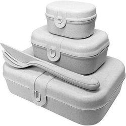 Lunchboxy pascal ready organic szare ze sztućcami 4 el.
