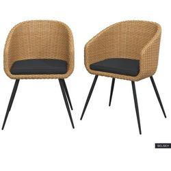 Selsey zestaw dwóch krzeseł ogrodowych kencur jasny technorattan z czarnym siedziskiem (5903025719627)