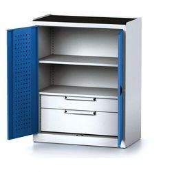 Szafa warsztatowa MECHANIC, 1170 x 920 x 500 mm, 1 półka, 2 szuflady, niebieskie drzwi