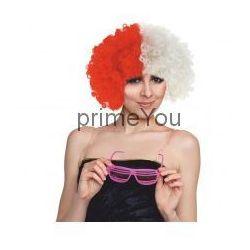 Godan Peruka kibica - afro biało-czerwone 33x22 cm., kategoria: gadżety