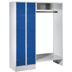 System garderob ze schowkami,10 schowków po lewej stronie, 10 wieszaków na ubrania