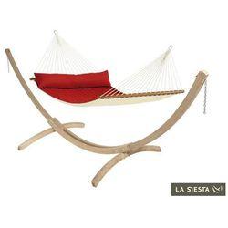 La siesta Zestaw hamakowy: hamak z drążkiem alabama ze stojakiem canoa, czerwony nqr14cns201