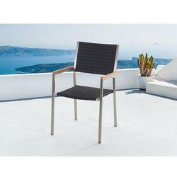 Meble ogrodowe czarne - krzesło ogrodowe - rattanowe - balkonowe - tarasowe - GROSSETO