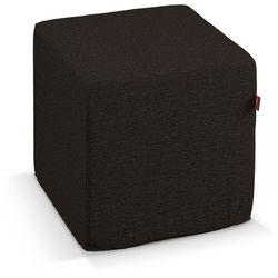 pufa kostka twarda, czarny z brązowymi nitkami, 40 × 40 × 40 cm, madrid marki Dekoria