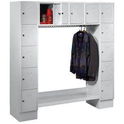Szafa na garderobę, otwarta, wys. x szer. całk.: 1850x1800 mm, 14 półek, jasnosz
