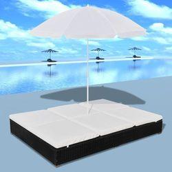 Vidaxl  luksusowe łóżko rattanowe, czarne, leżak dwuosobowy z parasolem, kategoria: parasole ogrodowe