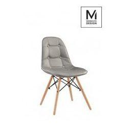 MODESTO krzesło tapicerowane EKOS WOOD szary - ekoskóra, podstawa bukowa