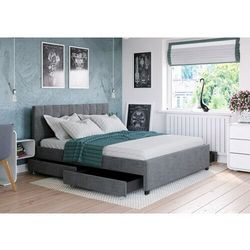 Łóżko 180x200 tapicerowane modena + 4 szuflady + materac ciemno szare tkanina marki Big meble