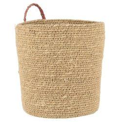 Ib laursen - Koszyk z trawy morskiej z uchwytem w kolorze malwy