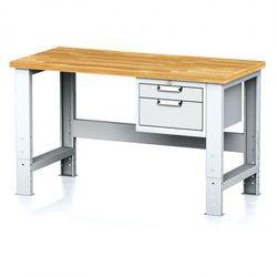 Stół warsztatowy MECHANIC, 1500x700x700-1055 mm, nogi regulowane, 1x szufladowy kontener, 2 szuflady, szare