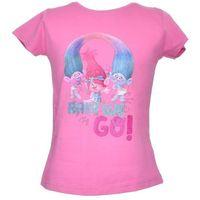 T-shirt z wizerunkiem bohaterów bajki trolls - różowy ||kolorowy marki Licencja - inne