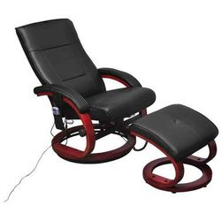 Vidaxl fotel masujący ze sztucznej skóry z podnóżkiem, czarny (8718475832713)