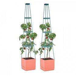 tomato tower pojemnik do hodowli roślin komplet 2-częściowy 25x150x25cm podpora pp marki Waldbeck
