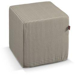 Dekoria Pufa kostka, beżowo biała krateczka (0,5x0,5cm), 40 × 40 × 40 cm, Quadro, kolor biały