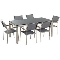Beliani Meble ogrodowe - stół granitowy - cała płyta - 180 cm czarny polerowany z 6 szarymi krzesłami - grosseto (7081455237305)