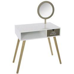 Toaletka dla dziewczynki w kolorze białym i złotym, toaletka kosmetyczna, toaletka z lustrem, toaletka nowoczesna, komoda toaletka