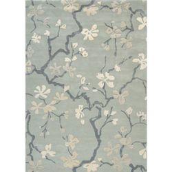 C&m Błękitno szary dywan w kwiaty anthea china blue