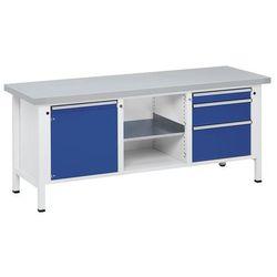 Stół warsztatowy, stabilny, 1 drzwi 540 mm, 3 szuflady, okładzina z blachy stalo marki Anke werkbänke - an
