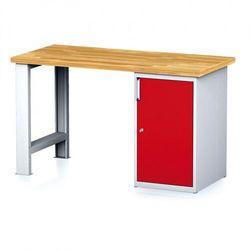 B2b partner Stół warsztatowy mechanic, 1500x700x880 mm, 1x szafka, szary/czerwony